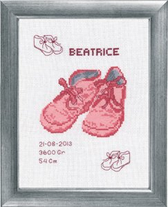 Permin Kits922158 ~ Beatrice Birth Announcement ~ 14 count Aida