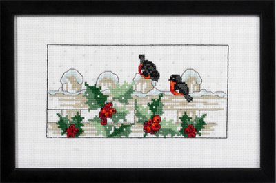 Permin Kits923183 ~ Bull Finches ~ 14 count Aida