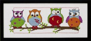 Permin Kits923387 ~ Owl Friends ~ 14 count Aida