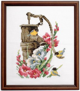 Permin Kits925519 ~ Birds On Water Pump ~ 8 count Aida