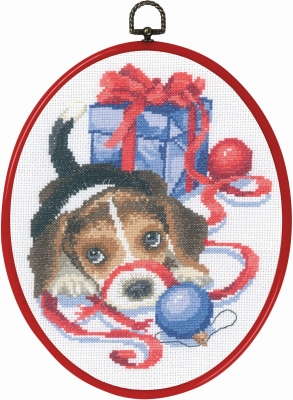 Permin Kits926610 ~ Puppy With Ribbon ~ 14 count Aida