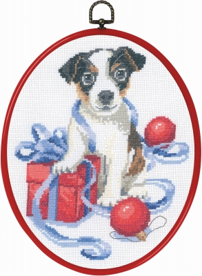 Permin Kits926611 ~ Puppy With Gift ~ 14 count Aida