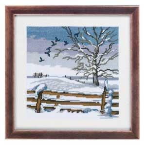 Permin Kits928305 ~ Birds Winter Scene ~ 14 count Aida