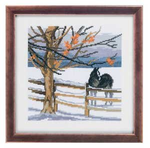 Permin Kits928307 ~ Horse Winter Scene ~ 14 count Aida