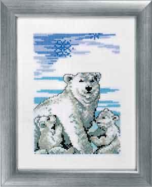 Permin Kits928320 ~ Polar Bears With Cubs ~ 14 count Aida