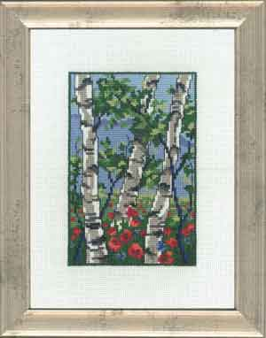 Permin Kits929127 ~ Birch Trees With Poppies ~ 18 count Aida