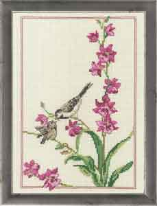 Permin Kits929167 ~ Flowers With Bird ~ 14 count Aida
