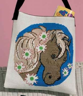 Permin Kits929181 ~ Horse With Flowers Bag ~ 8 count Aida