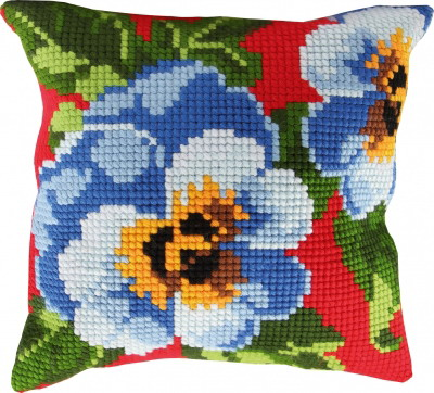 Permin Kits9670 ~ Pansies Pillow ~ 4 Count Printed Canvas
