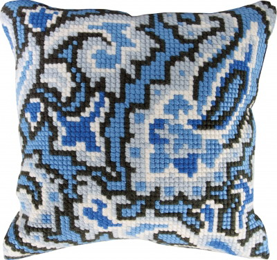 Permin Kits9673 ~ Blue Design Pillow ~ 4 Count Printed Canvas