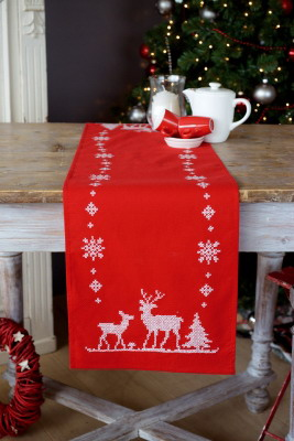 Vervaco Kits PNV147225 Christmas Deer Table Runner