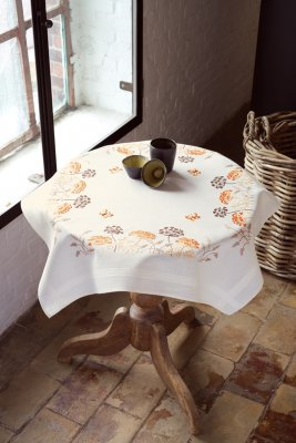 Vervaco Kits PNV148207 Orange Grasses & Butterflies Tablecloth