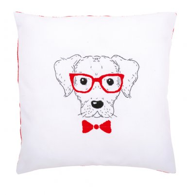 Vervaco Kits PNV155963 Dog with Red Glasses Cushion