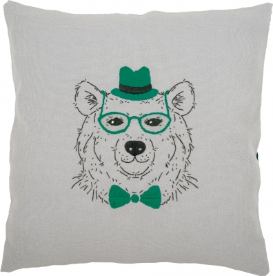 Vervaco Kits PNV156059 Bear With Green Glasses/Bowtie/Hat Cushion