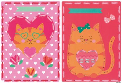 Vervaco Kits PNV157039 Cats With Hearts Card Set