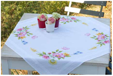 Vervaco Kits PNV21573 Flower Swag Printed Tablecloth