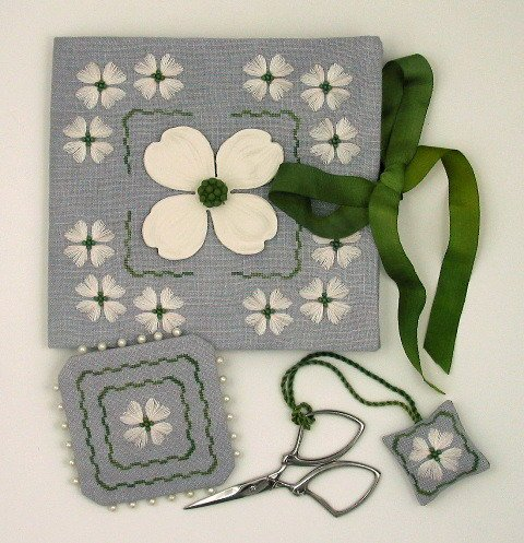Acorn House Designs Closeout Dogwood Sewing Set with Clay Flower Button
