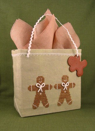 Acorn House Designs Closeout Pretty Easy Gift Bag ~ Gingerbread Men with Embellishments