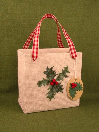 Acorn House Designs Pretty Easy Gift Bag ~ Holly with Embellishments