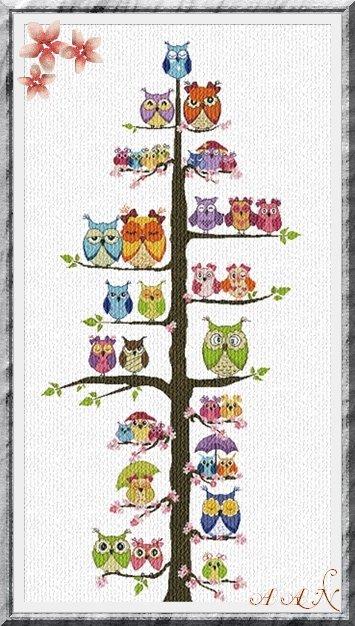 Alessandra Adelaide Needleworks AAN192 Owl Family Tree