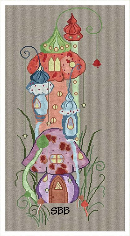 Alessandra Adelaide Needleworks AAN454 Tower of Mushrooms Village