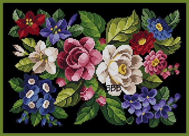 Antique Needle Work Designs34459 Victorian Floral Needlepoint