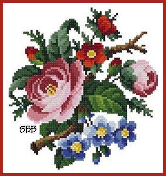Antique Needle Work Designs34484 Antique Small Bouquet