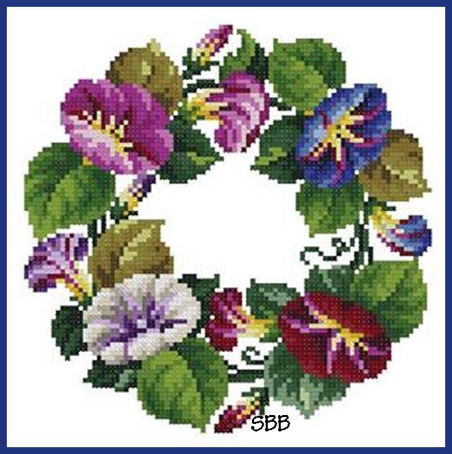 Antique Needle Work Designs36325 Antique Oval Violet Bouquet