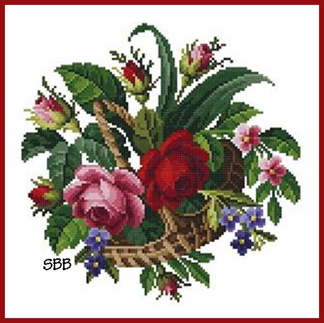 Antique Needle Work Designs36330 Berlin Floral Basket