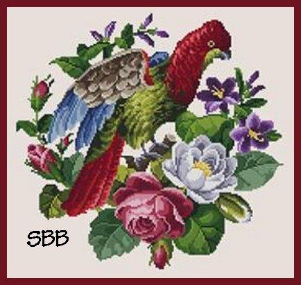 Antique Needle Work Designs37771 Antique Flowers & Parrot