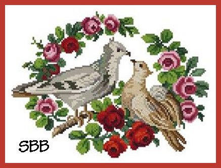 Antique Needle Work Designs37772 Two Pigeons In Small Roses