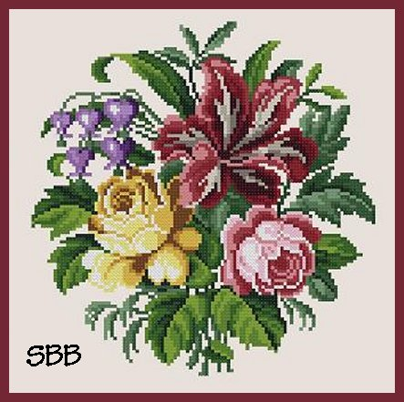 Antique Needle Work Designs37816 Lily & Roses Bouquet
