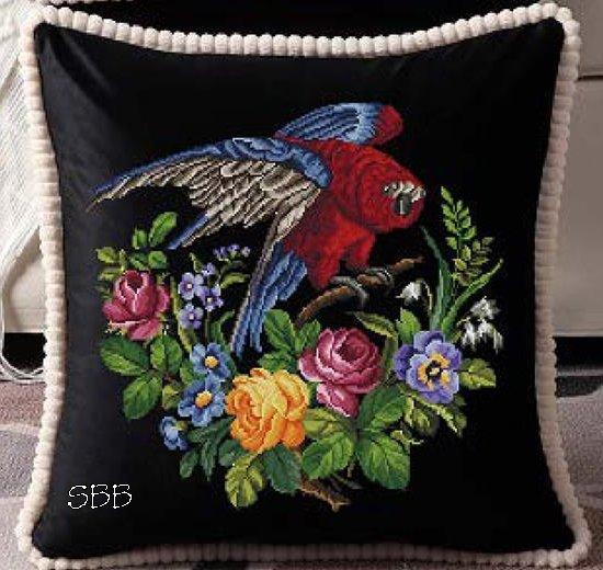 Antique Needle Work Designs37941 Antique Floral Parrot