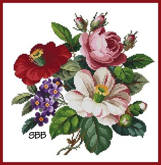 Antique Needle Work Designs38223 Pink Rose, Red & Purple Flowers