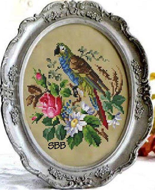 Antique Needle Work Designs38224 Floral Parrot