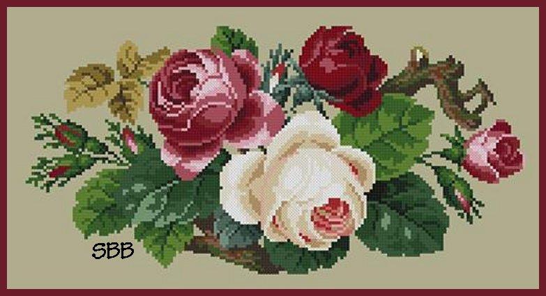 Antique Needle Work Designs38307 Berlin Roses Bouquet
