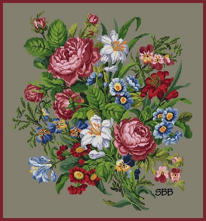 Antique Needle Work Designs38308 Berlin Floral Large Bouquet