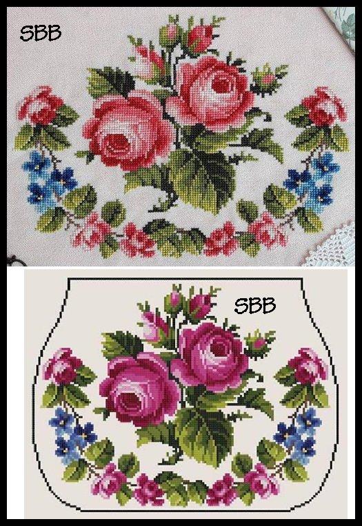 Antique Needle Work Designs38309 Roses Bouquet ~ Purse