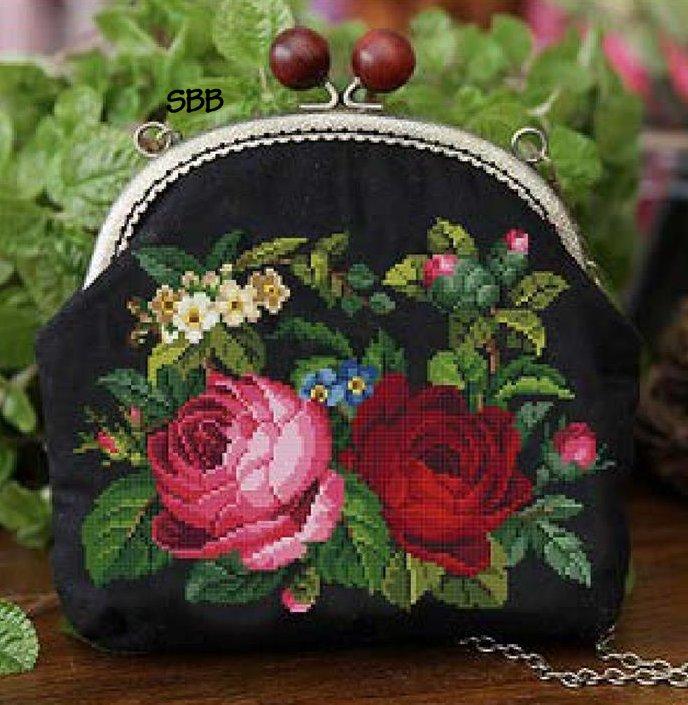 Antique Needle Work Designs38310 Antique Floral Purse