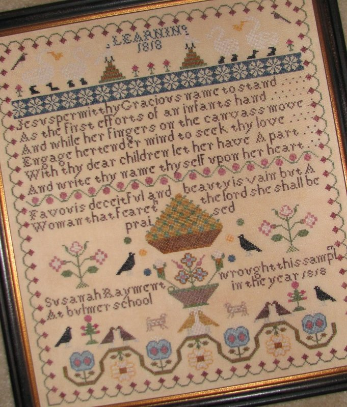 Black Branch Needlework Susanah Rayment Learning 1818 Sampler