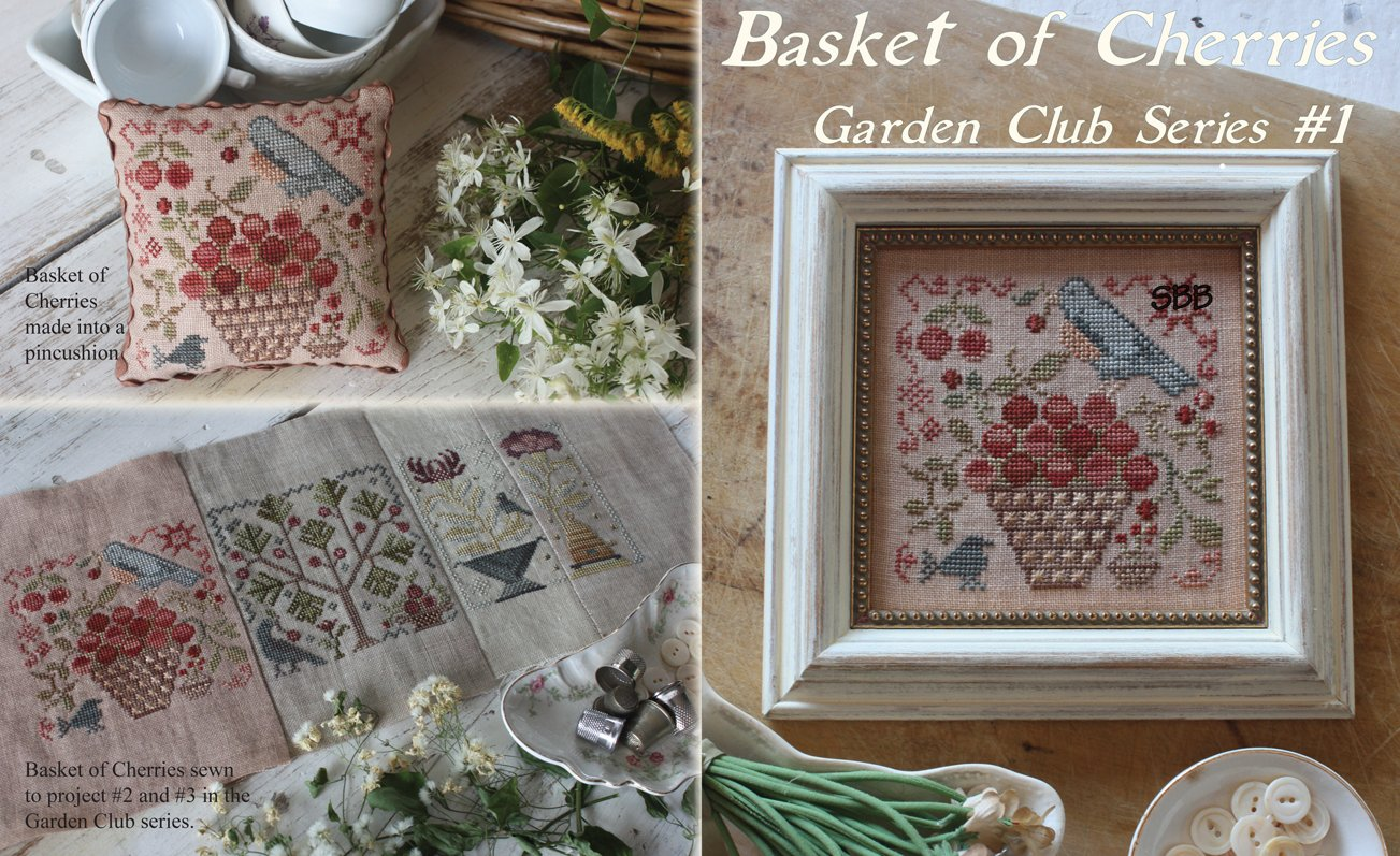 Blackbird Designs Garden Club Series #1 ~ Basket Of Cherries