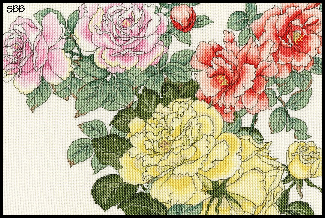 Bothy Threads Kits BTXBD13 Blooms Collection Rose Blooms ~ Bothy Designs ~ 14ct Cream Aida