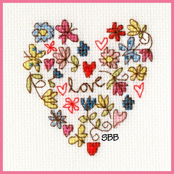 Bothy Threads Kits BTXGC1 Greeting Card Collection Sweet Heart ~ Kim Anderson ~ 14ct Antique White Aida