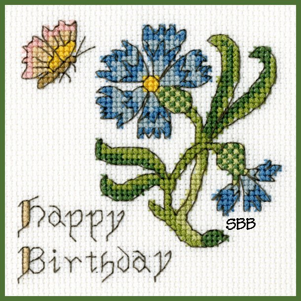Bothy Threads Kits BTXGC10 Happy Birthday Card Cornflower ~ Bothy Designs ~ 14ct Antique White Aida