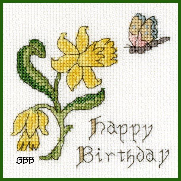 Bothy Threads Kits BTXGC11 Happy Birthday Card Daffodil ~ Bothy Designs ~ 14ct Antique White Aida