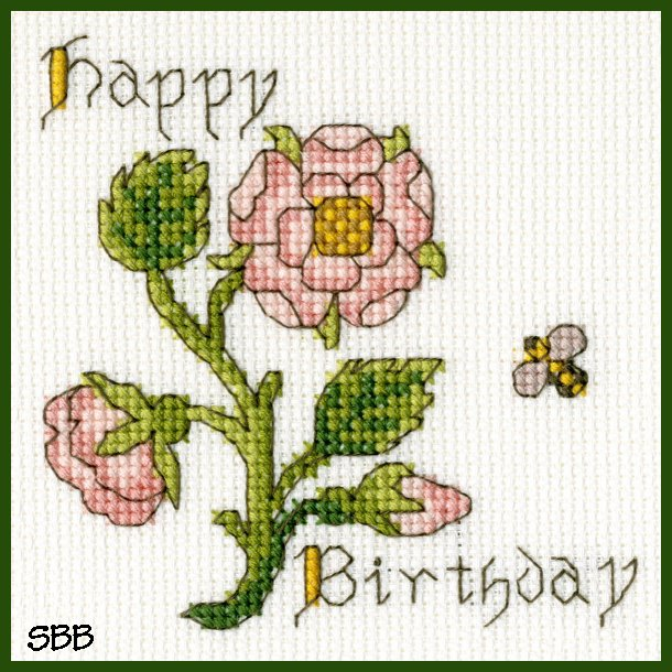 Bothy Threads Kits BTXGC12 Happy Birthday Card Rose ~ Bothy Designs ~ 14ct Antique White Aida
