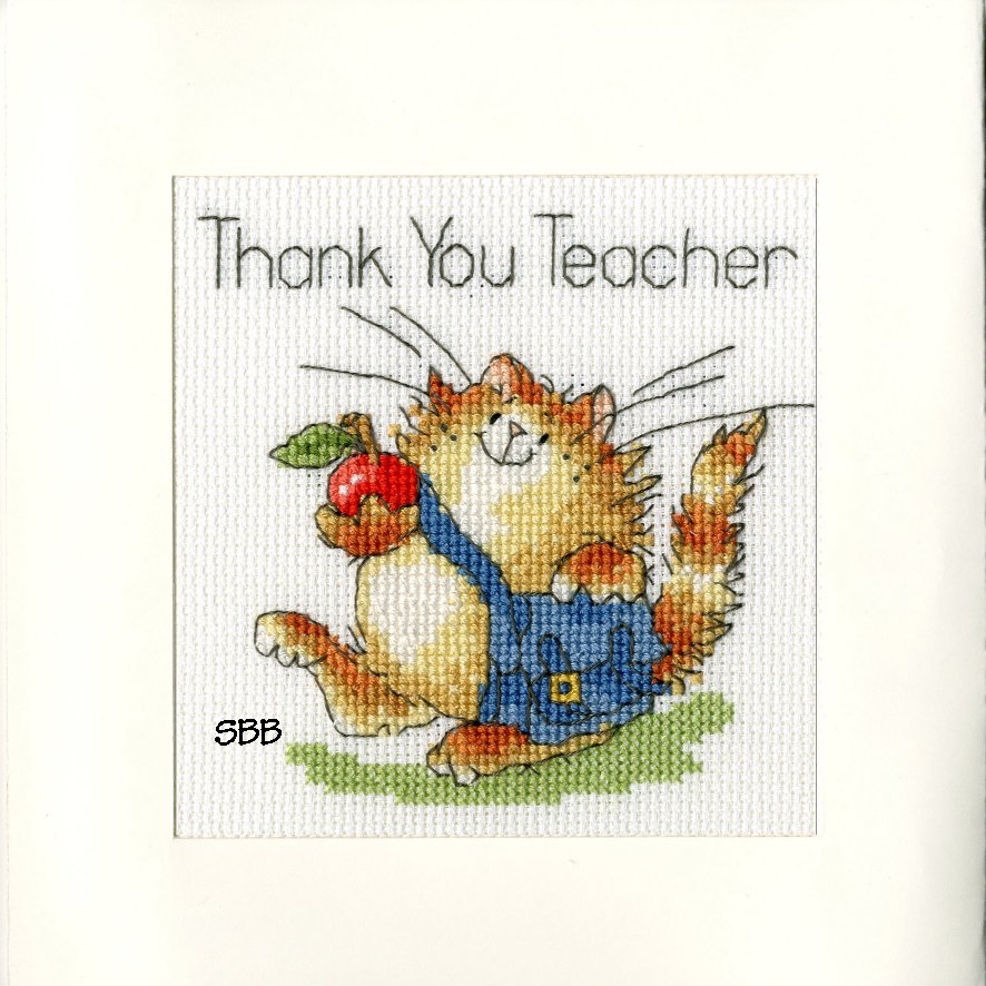 Bothy Threads Kits BTXGC13 Greeting Card Collection An Apple For Teacher ~ Margaret Sherry ~ 16ct Antique White Aida