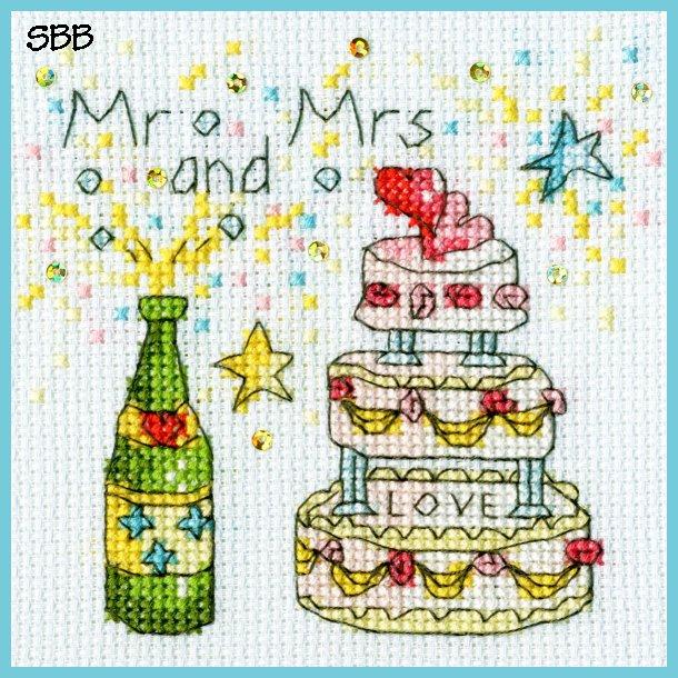 Bothy Threads Kits BTXGC7 Greeting Card Collection Cheers Card ~ Amanda Loverseed ~ 14ct Ice Blue Aida