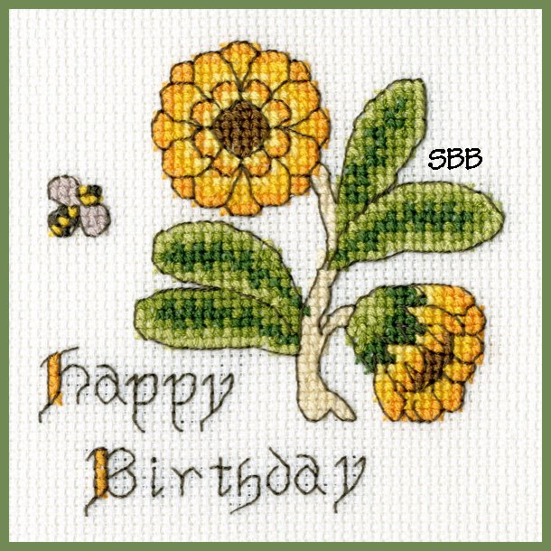 Bothy Threads Kits BTXGC9 Happy Birthday Card Marigold ~ Bothy Designs ~ 14ct Antique White Aida