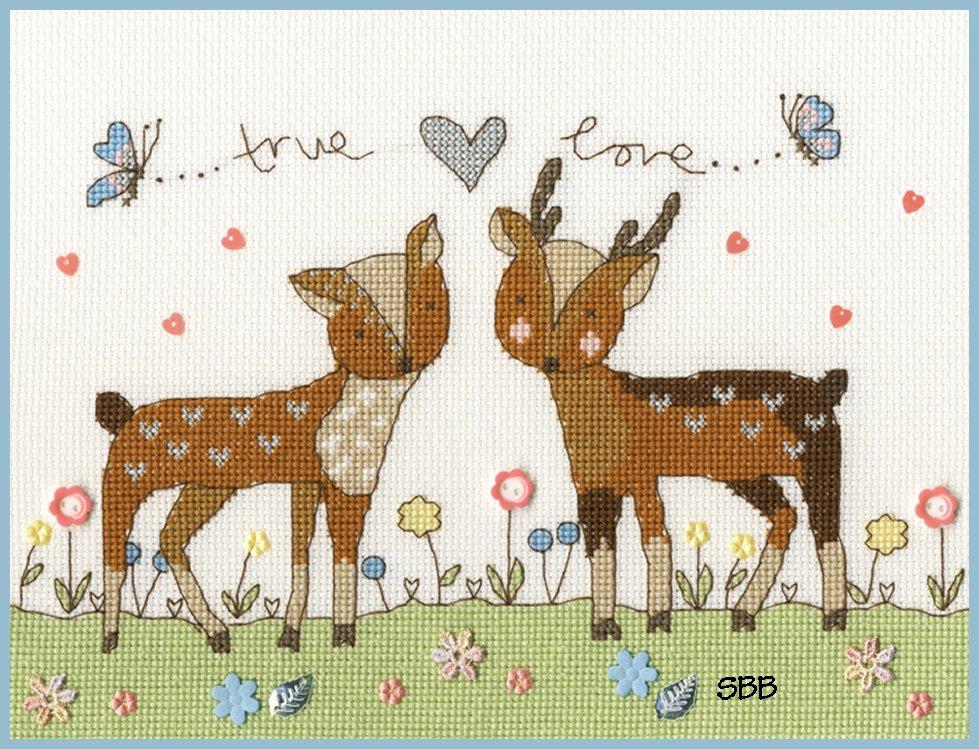 Bothy Threads Kits BTXKA18 Love You Deerly ~ Kim Anderson ~14ct White Aida